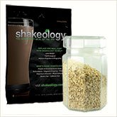 Chocolate Shakeology Packet and Jar of Oatmeal