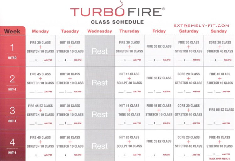 Turbo Fire Reviews: Calendar and Fitness Guide | Extremely-Fit